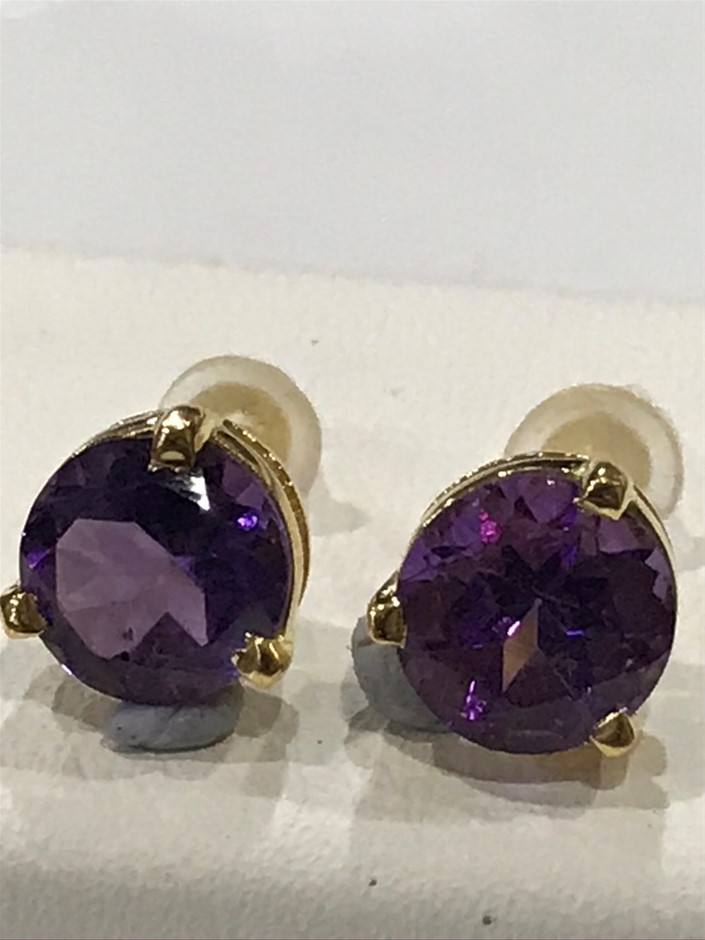 Magnificent Amethyst 3.10ct & 18K Gold Vermeil Earrings