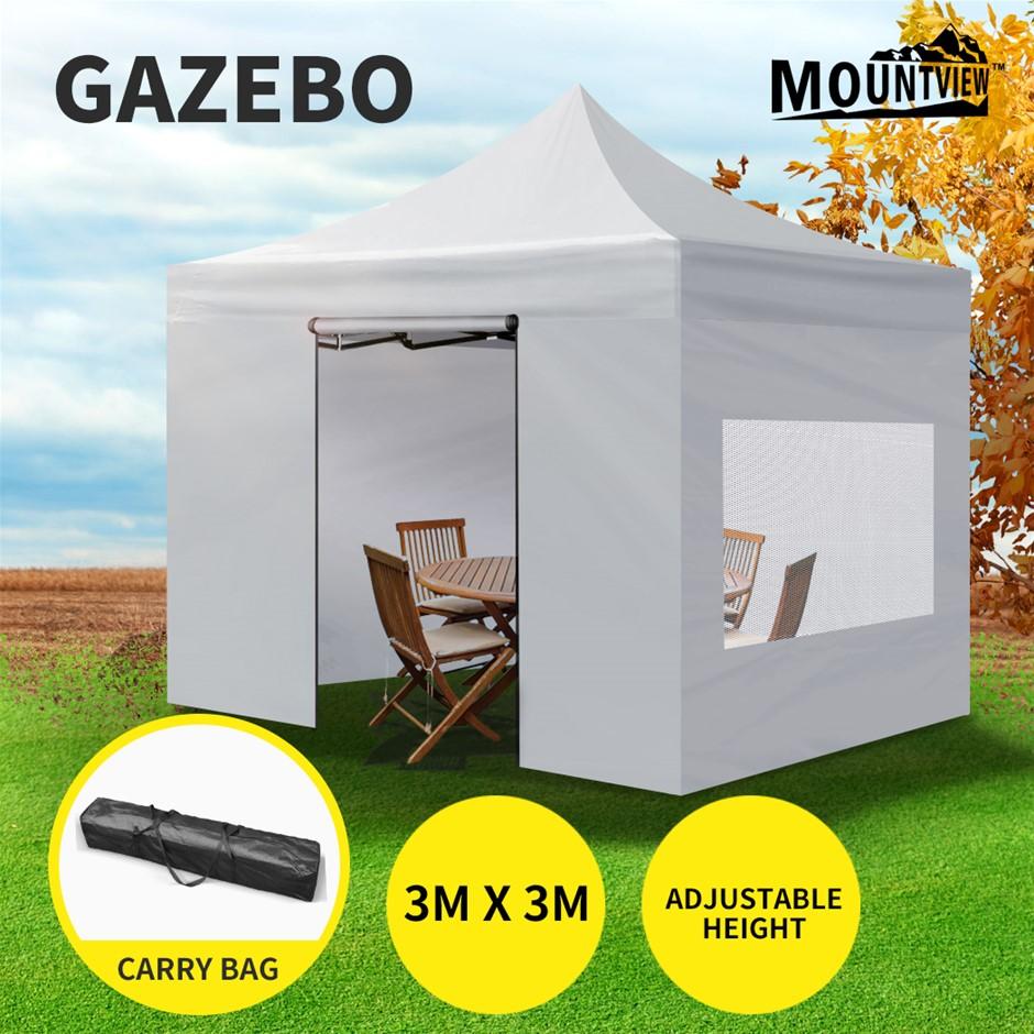 Mountview Gazebo TentOutdoor Marquee Gazebos 3x3 Canopy Mesh Side Wall
