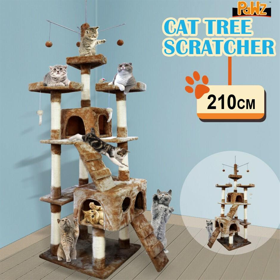 2.1M PaWz Pet Cat Tree Scratching Post Scratcher Trees Pole Gym Condo