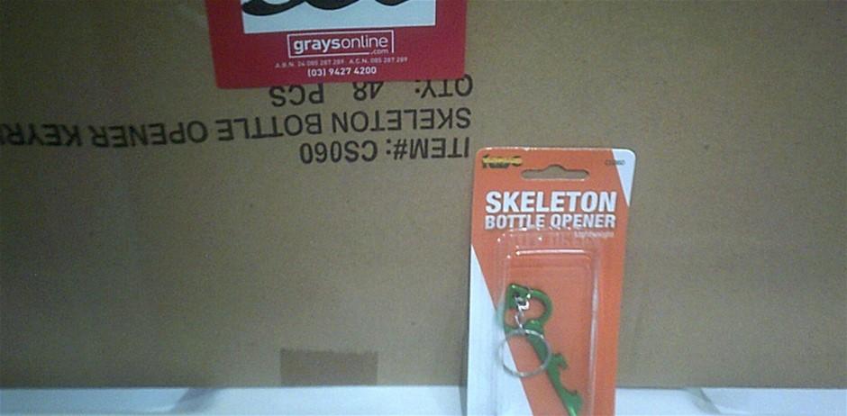 Box of 48 Vanguard Skeleton Bottle Opener Key Rings. New in packaging