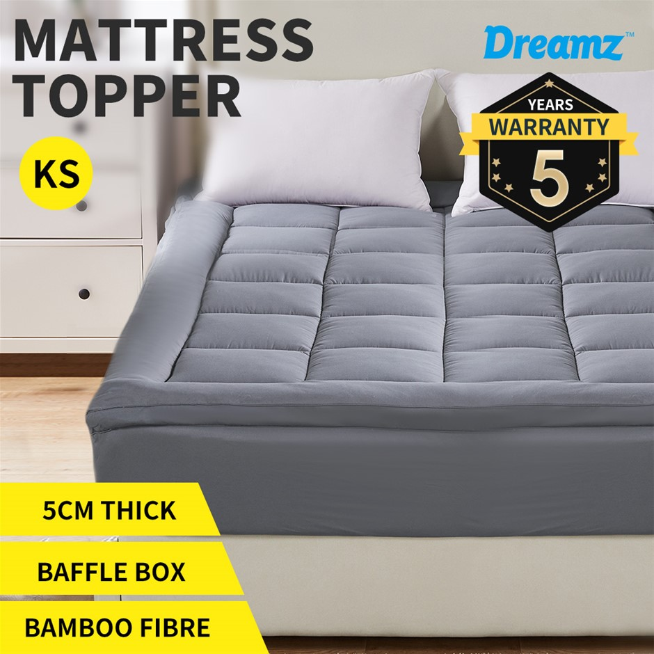 Dreamz Mattress Topper Bamboo Fibre Luxury Protector Cover King Single