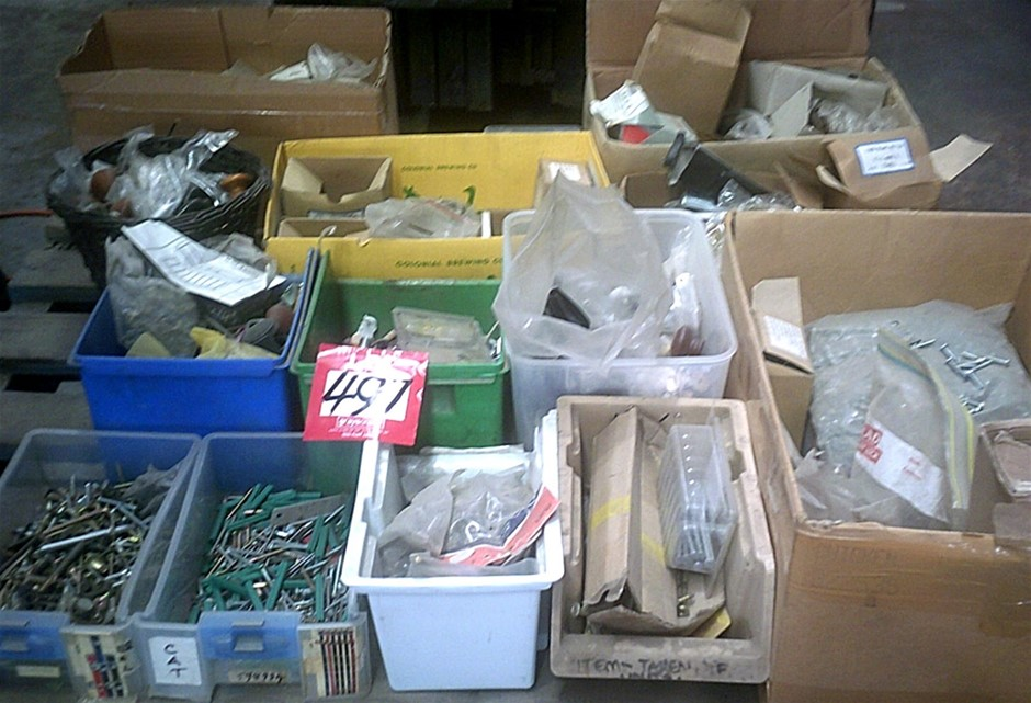 Pallet of assorted Hardware. Screws, Handles, Bolts, Casters, As pictured.