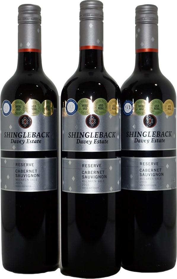Shingleback Davey Estate Reserve Cabernet Sauvignon 2015 (3x 750mL), SA