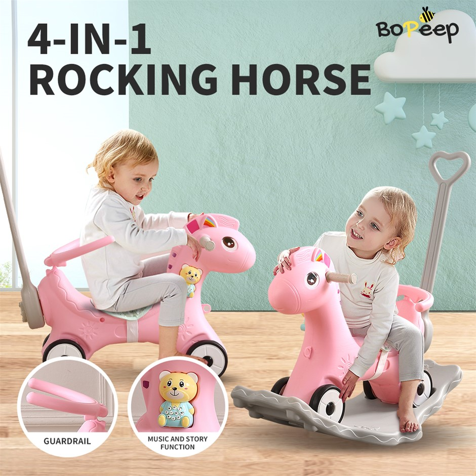 BoPeep Kids 4-in-1 Rocking Horse Toddler Baby Horses Ride On Toy Pink