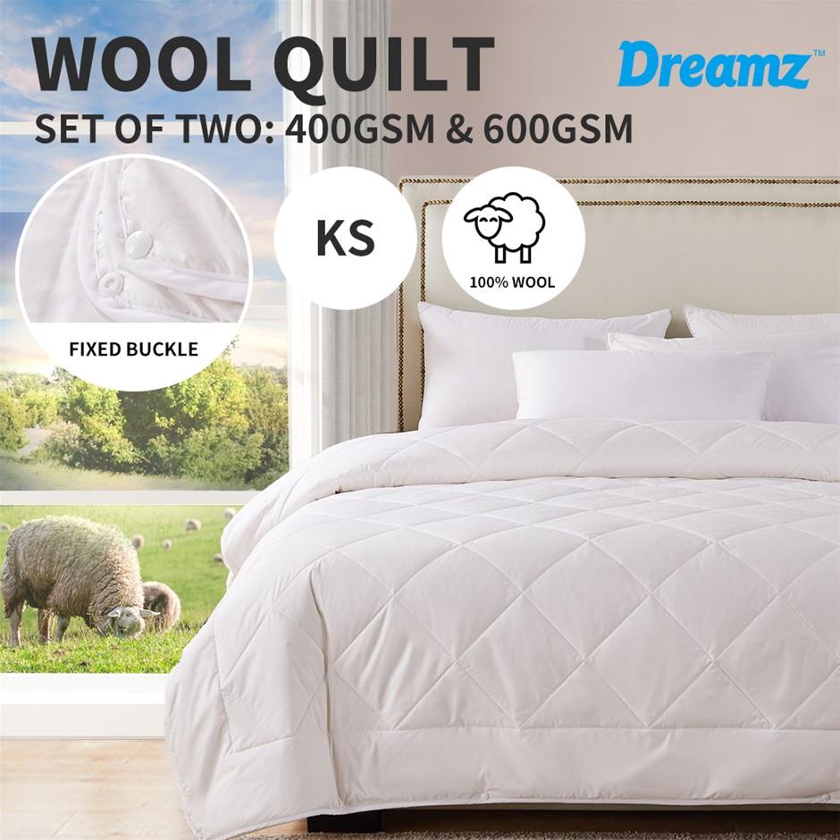 DreamZ 100% Wool Quilt 2-Piece 400/600GSM Doona Duvet King Single
