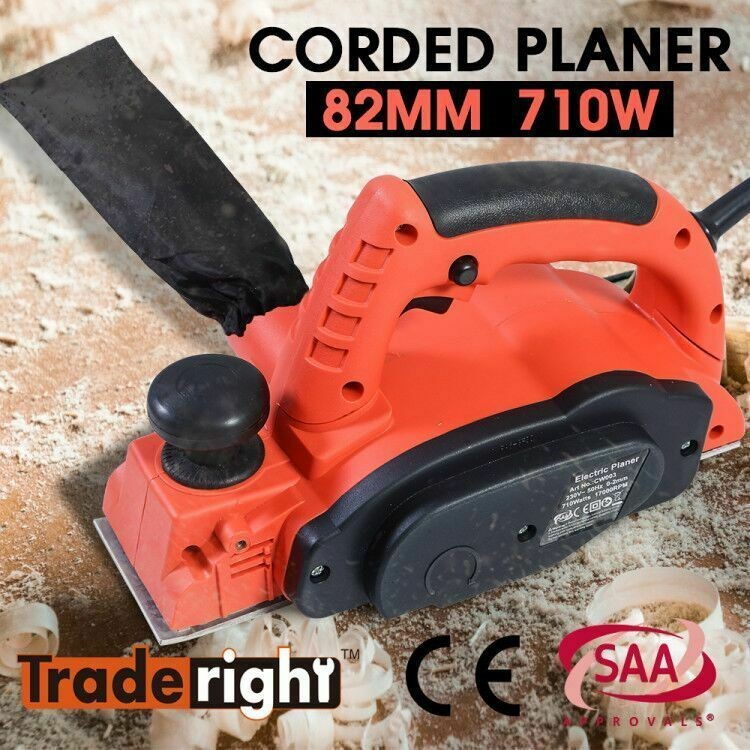 Traderight 710W Electric Wood Planer Door Plane Hand Held Power Tool
