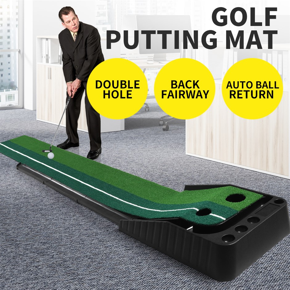 Golf Putting Mat Portable Auto Return Practice Putter Trainer