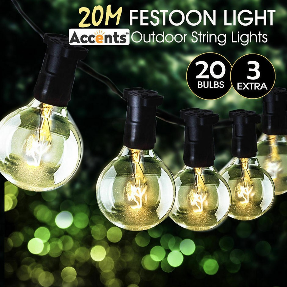 20M Festoon String Lights Kits Christmas Party Waterproof Indoor/Outdoor