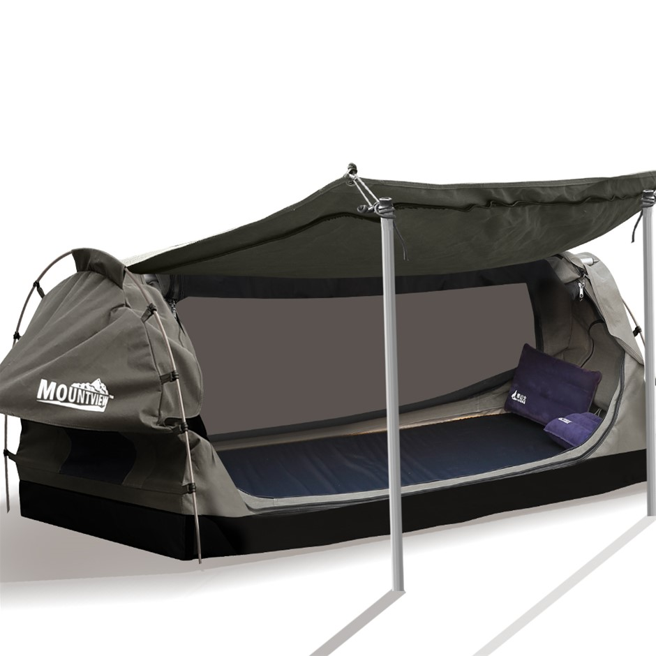 Mountview King Single Swag Swags Canvas Dome Tent Free Standing Navy