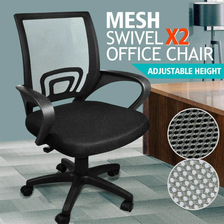 2 x Ergonomic Mesh Computer Home Office Desk Midback Task Adjustable Chair