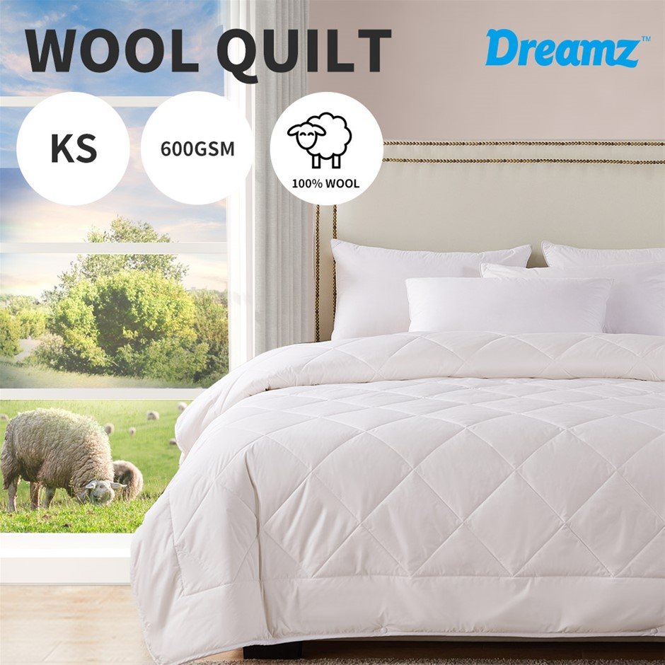 DreamZ 100% Wool Quilt Luxury Doona Duvet Down 600GSM King Single