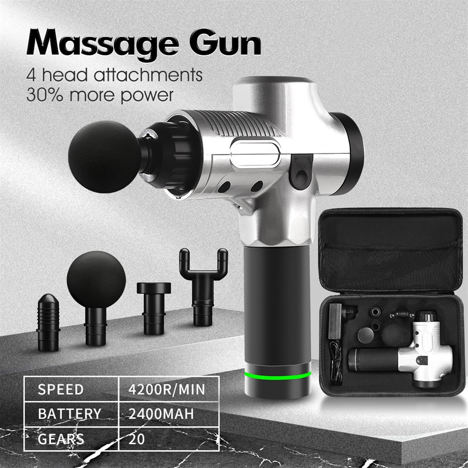 Massage Gun Electric Massager Vibration Muscle Therapy 4 Heads Percussion