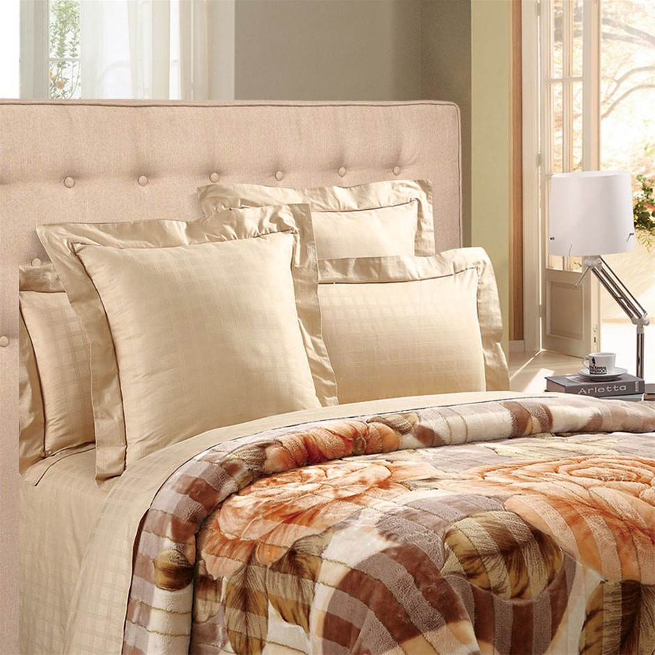 Levede Stylish Upholstered Fabric Bed Frame Mattress Base Double Beige
