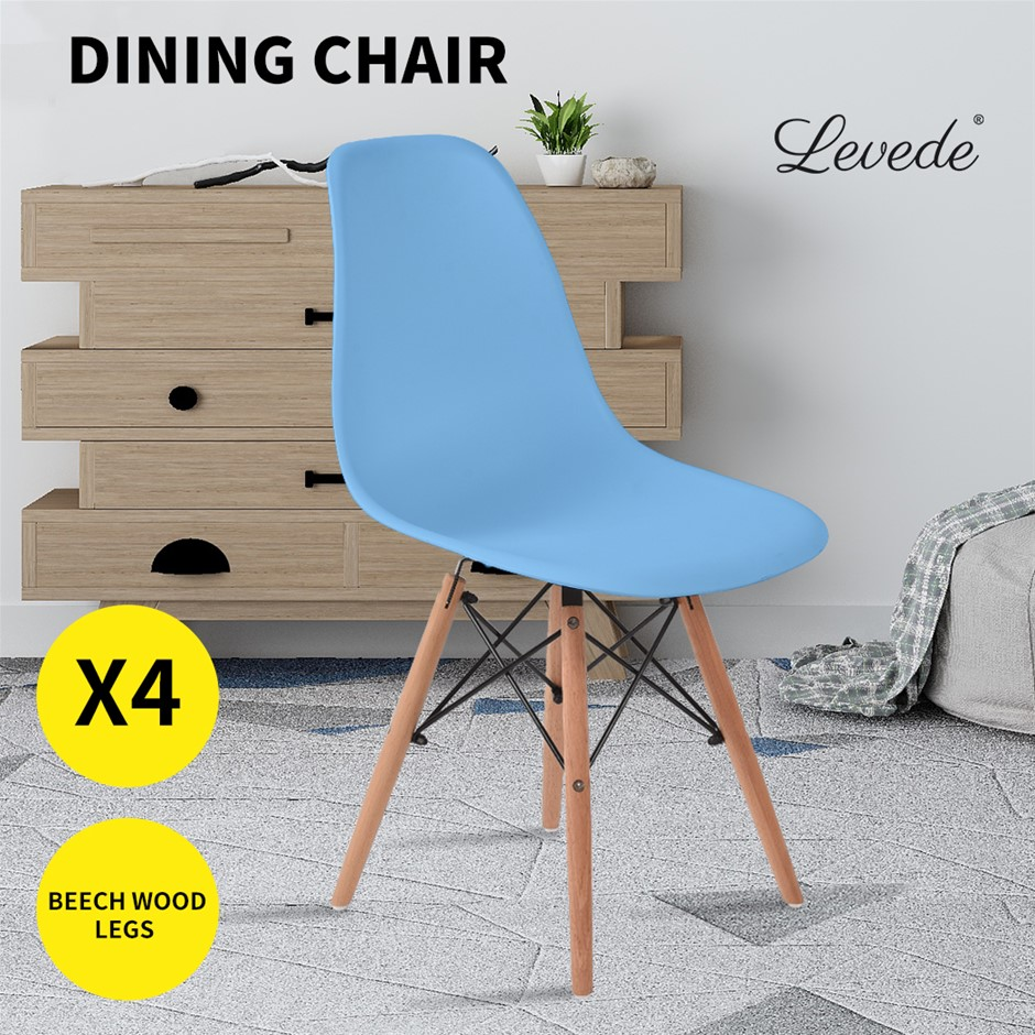 Levede Dining Chairs Retro Replica Office Cafe Lounge Chair Ocean Blue X4