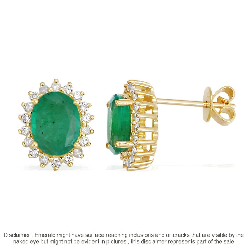 9ct Ywllow Gold, 2.25ct Emerald and Diamond Earring