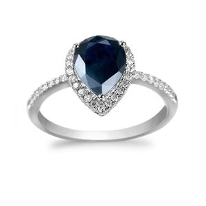 9ct White Gold, 1.92ct Blue Sapphire and