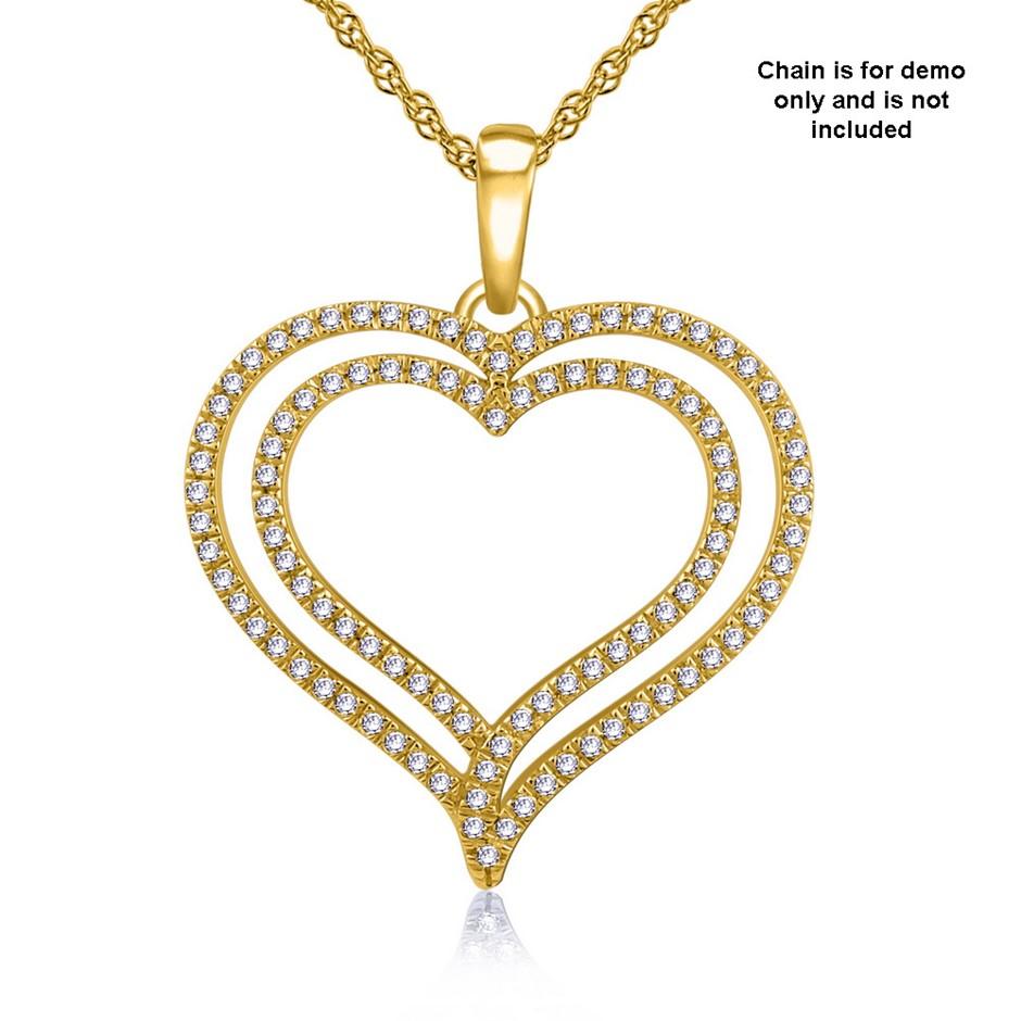 9ct Yellow Gold, 0.14ct Diamond Pendant