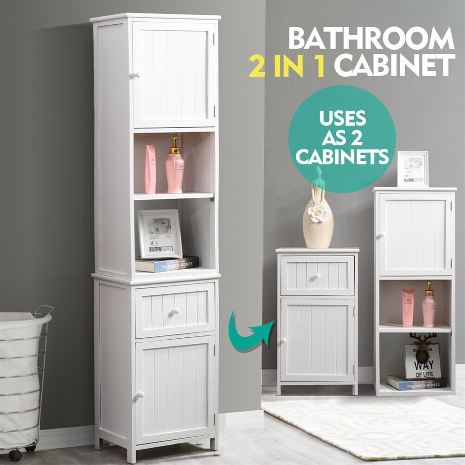 Levede 2 in 1 Bathroom Tallboy Toilet Cabinet Laundry Cupboard
