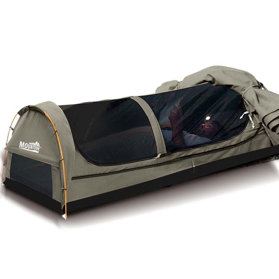 Mountview Double Swag Camping Swags Canvas Dome Tent Hiking Mattress Grey
