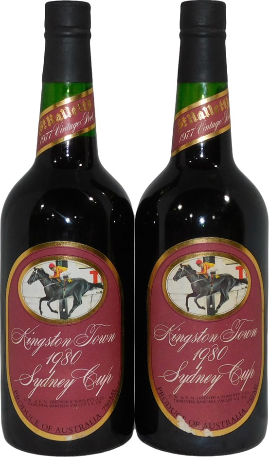 St Halletts Kingston Town 1980 Sydney Cup Vintage Port 1977 (2x 750mL), SA