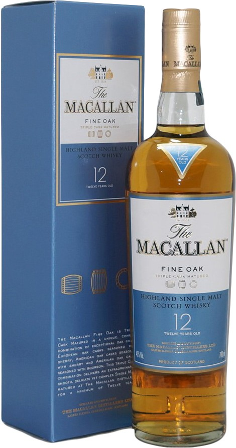 Macallan 12 Year Old Fine Oak Single Malt Scotch Whisky(1x 700ml), Scotland