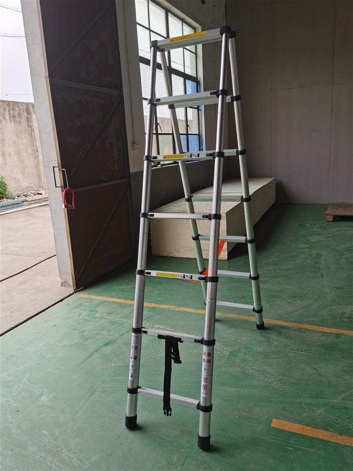 2m 7 Steps Aluminium Alloy Double Sided Ladder Extendable Step With Lock