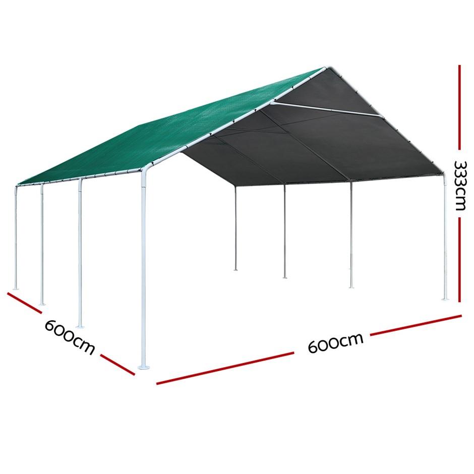 Carports 6m x6m Carport Kits Gazebo Canopy Tent Cover Metal Garden Shed
