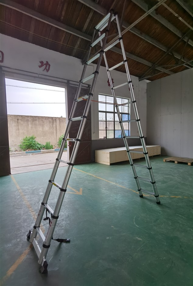 3.2m 11 Steps Aluminium Alloy Double Sided Ladder Extendable Step With Lock