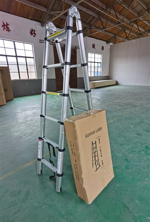 1.9m 6 Steps Aluminium Alloy Double Sided Ladder Extendable Step With Lock