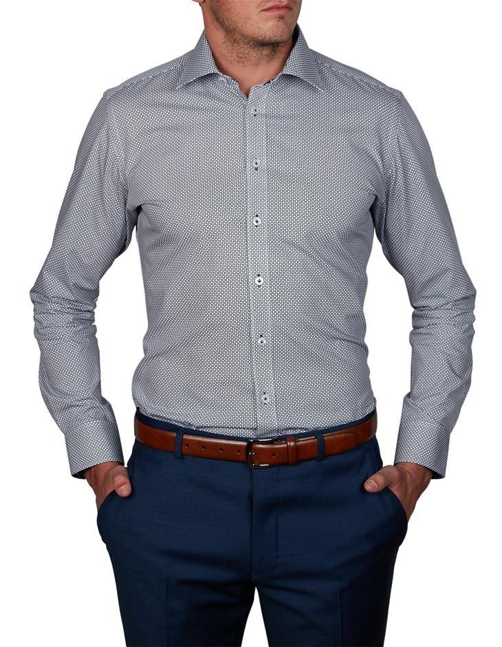 ABELARD Longega Print Shirt. Size 41, Colour: Navy. 100% Cotton. Buyers Not