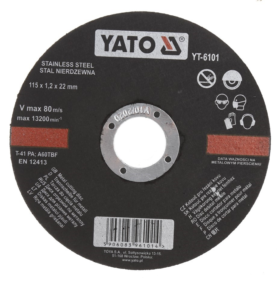 10 x YATO Stainless Steel Metal Cutting Discs 115 x 1.2 x 22mm. Buyers Note
