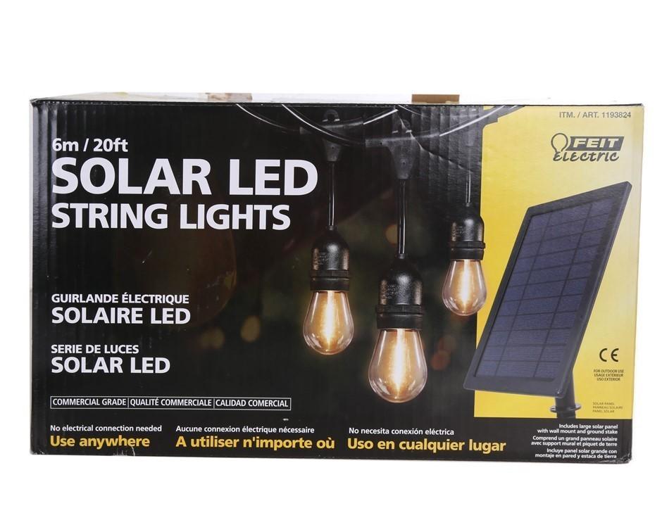 FEIT Solar LED String Light Kit Comprising 10 x Sockets, 12 x Bulbs, Large