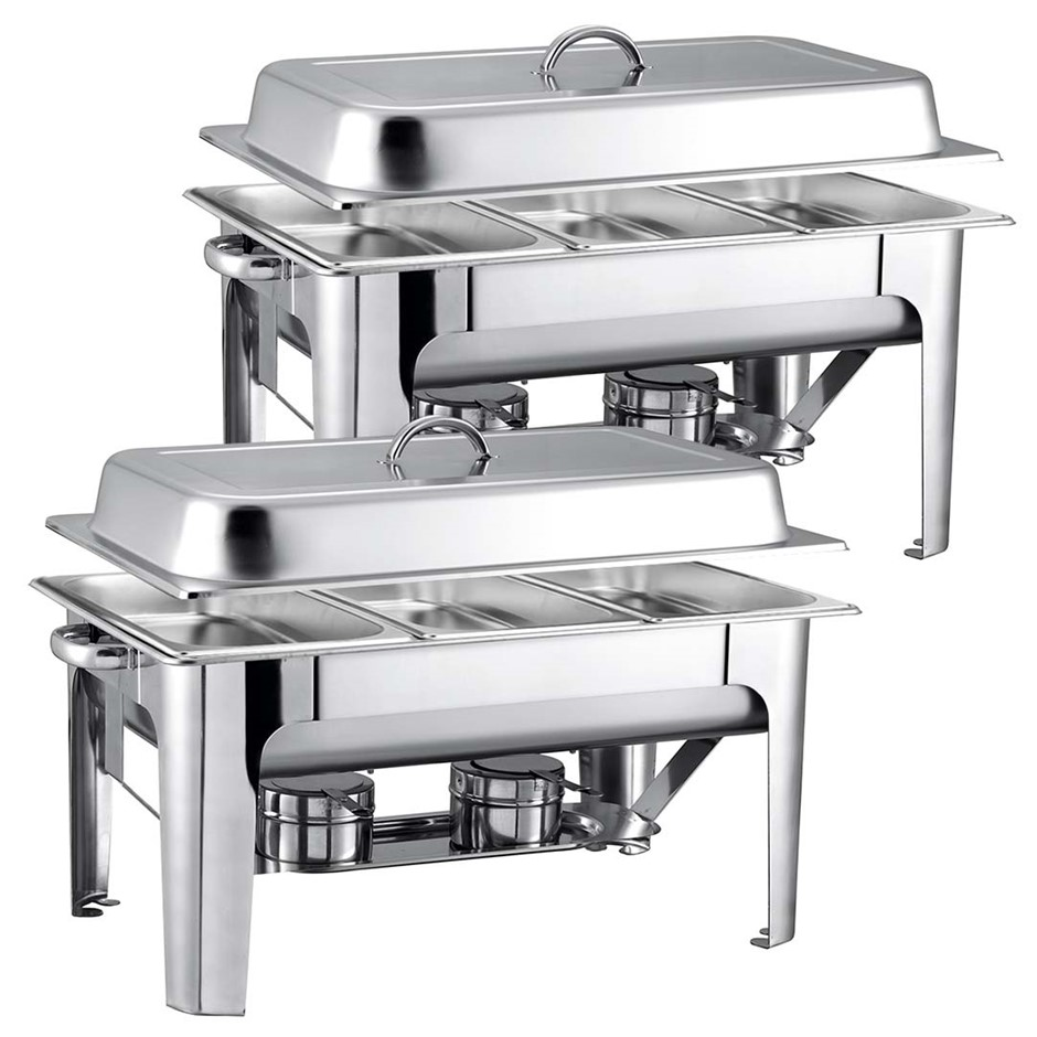 SOGA 2X 9L SS 3 Pans Bain-marie Chafing Catering Dish Buffet Food Warmer