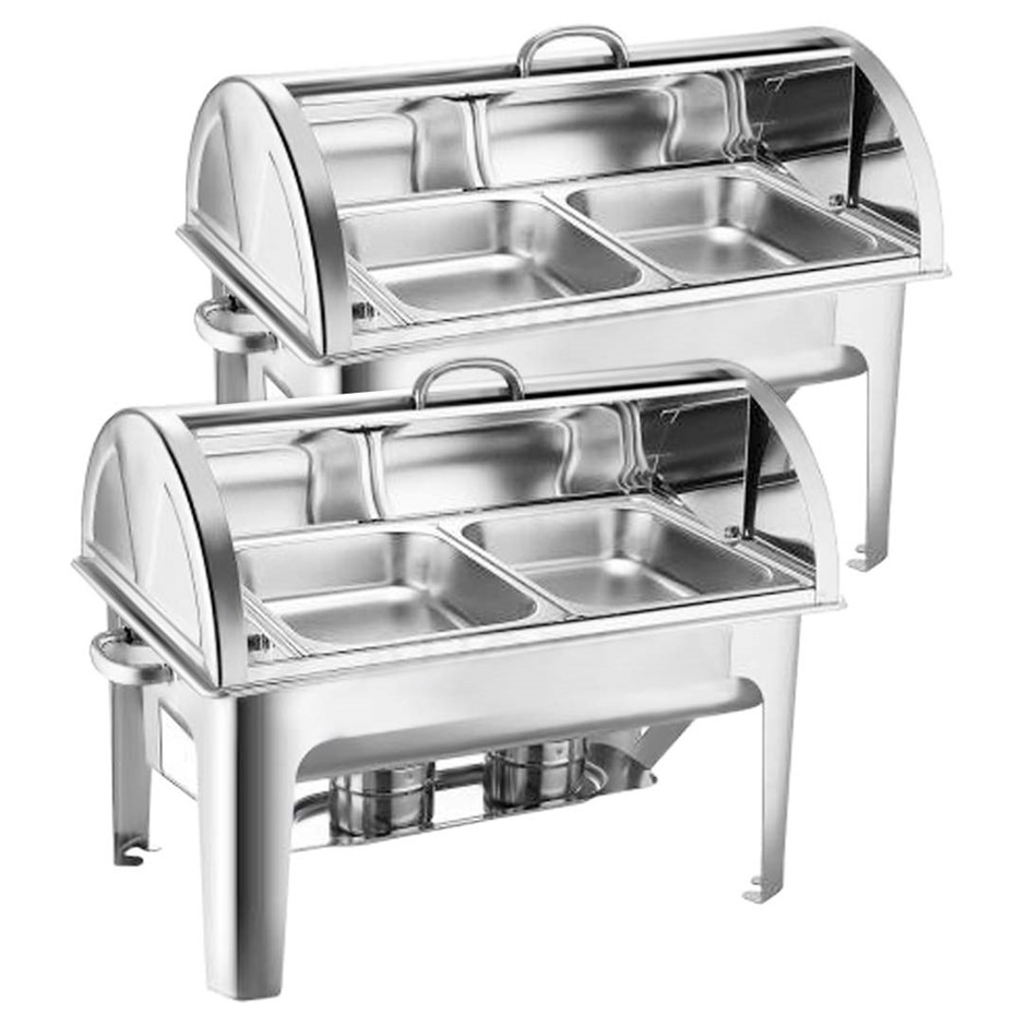 SOGA 2X Stainless Steel Roll Top Chafing Dish 2*4.5L Dual Trays Food Warmer