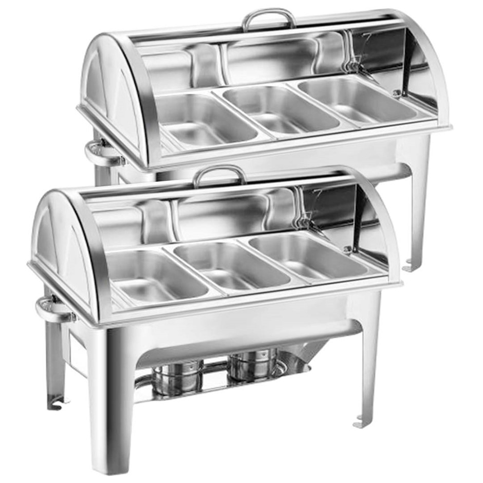 SOGA 2X Stainless Steel Roll Top Chafing Dish 3*3L Three Trays Food Warmer