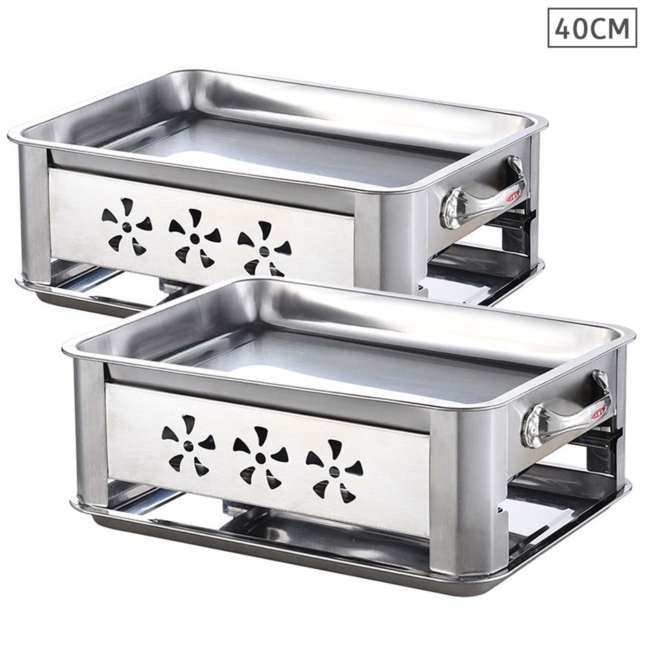 2X 40CM Portable SS Outdoor Chafing Dish BBQ Fish Stove Grill Plate