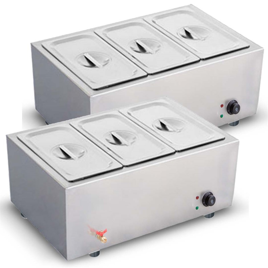 SOGA 2X SS Electric Bain-Marie Food Warmer W/ Pans and Lids 3*3L