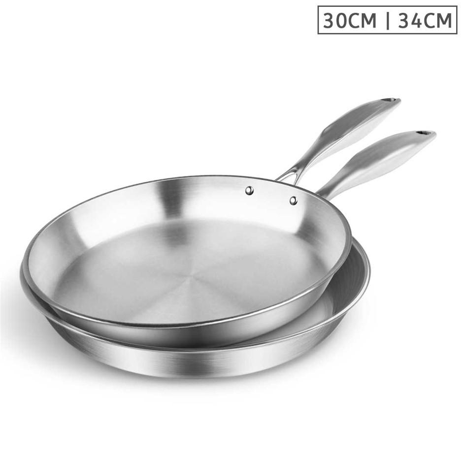 SOGA SS Fry Pan 30cm 34cm Frying Pan Top Grade Induction Cooking