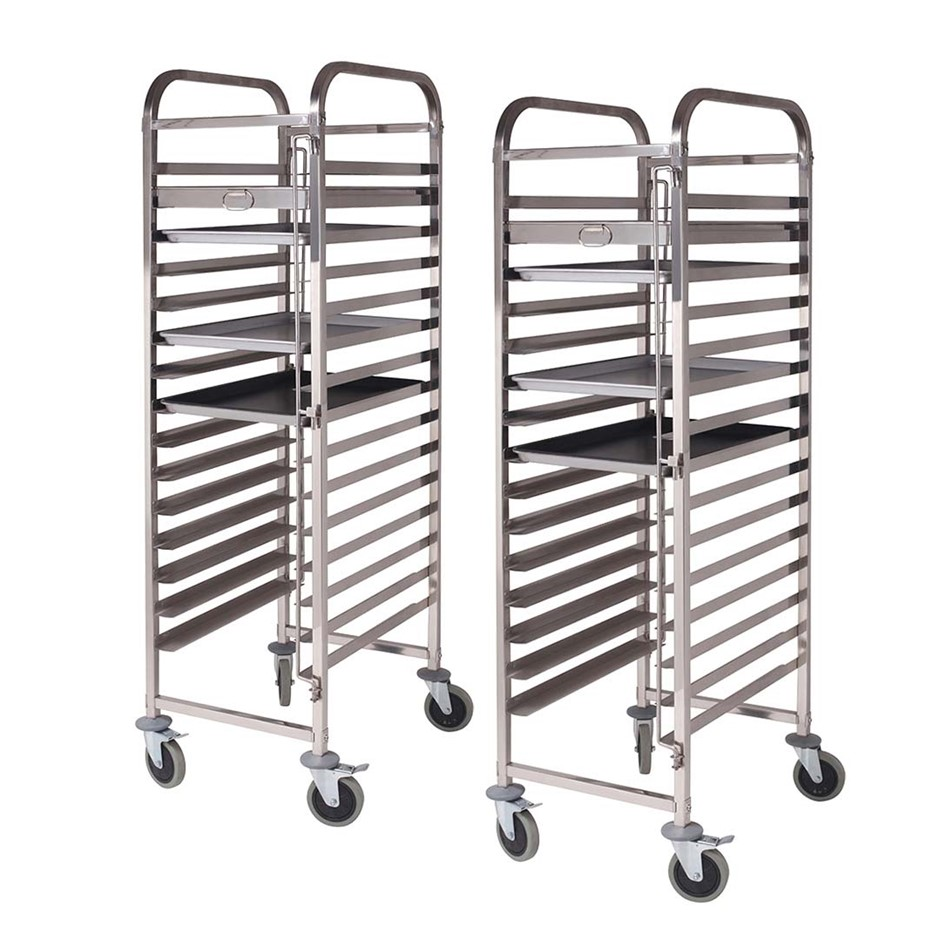 SOGA 2X Gastronorm Trolley 15 Tier SS Cake Bakery Suits 60*40cm Tray