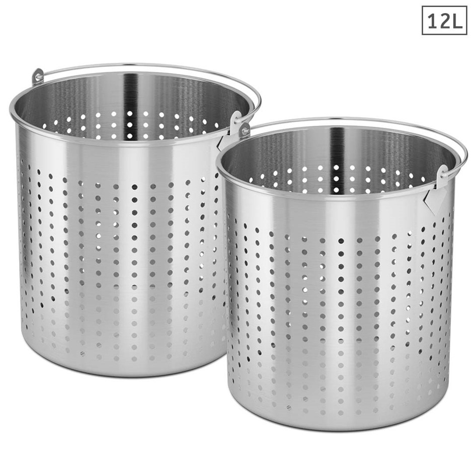 SOGA 2X 12L 18/10 SS Perforated Stockpot Basket Pasta Strainer W/ Handle
