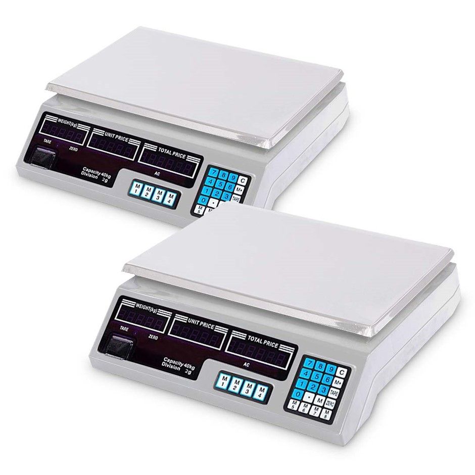 SOGA 2X 40kg Digital Commercial Scales Shop Electronic Weight Scale Food