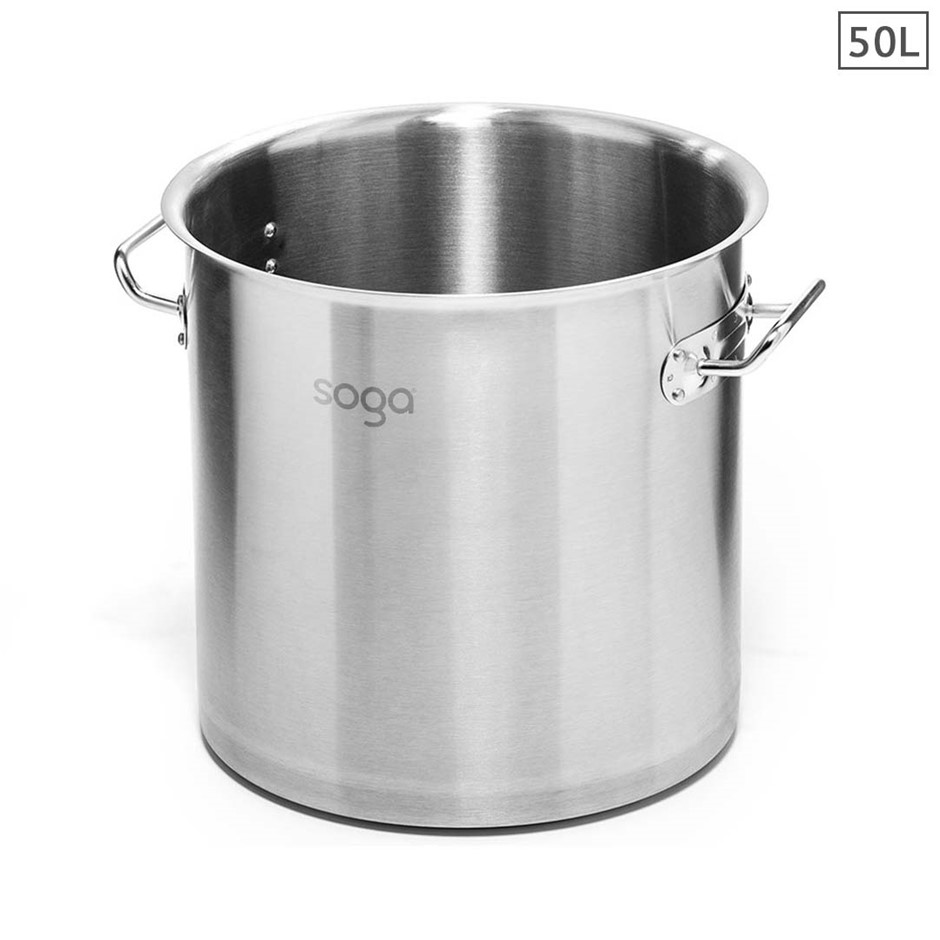 SOGA Stock Pot 50L Top Grade Thick Stainless Steel Stockpot 18/10 W/out Lid