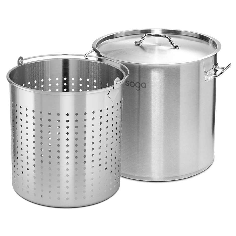 SOGA 130L 18/10 SS Stockpot W/ Perforated Stock pot Basket Pasta Strainer