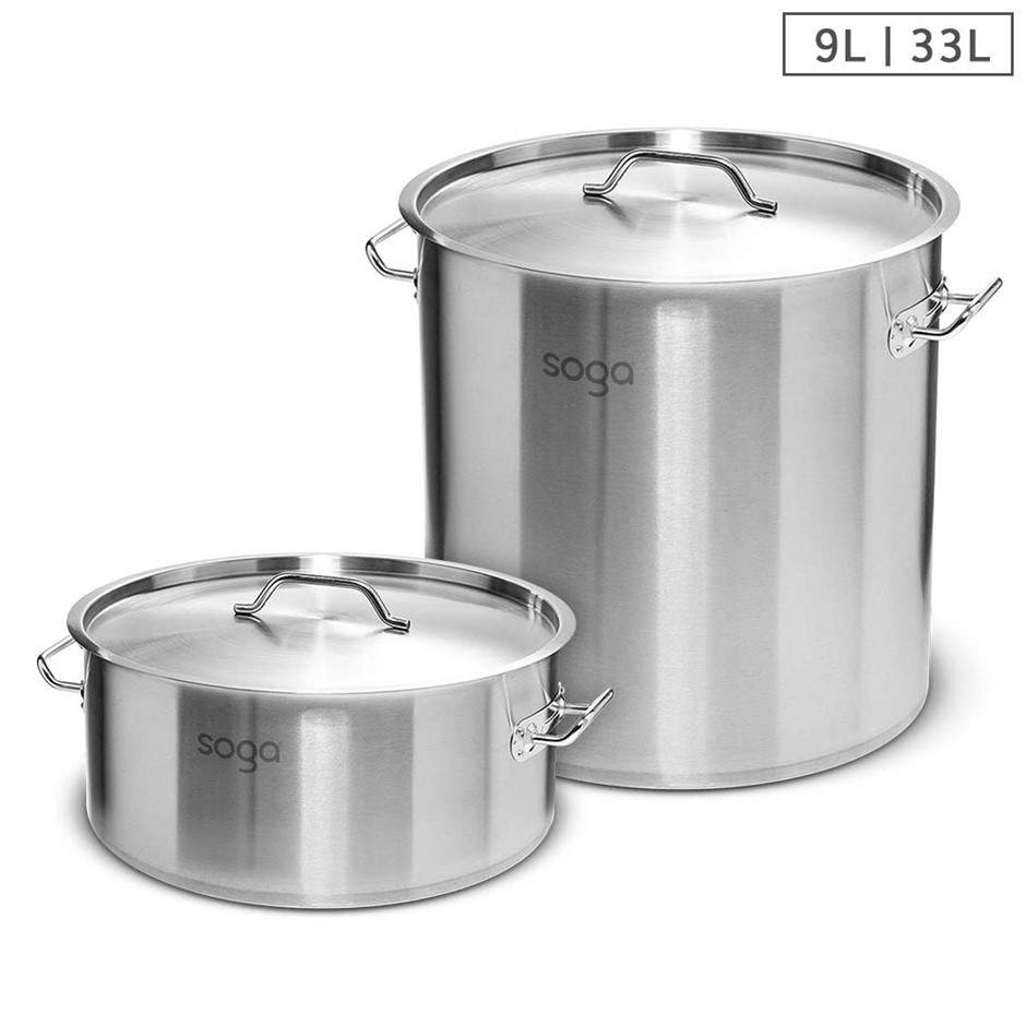 SOGA 9L Wide Stock Pot and 33L Tall Top Grade Thick SS Stockpot 18/10