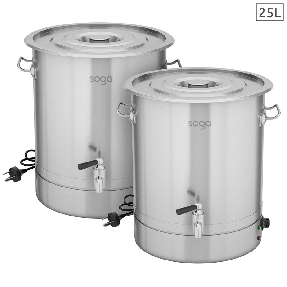 SOGA 2X 25L Stainless Steel URN Commercial Water Boiler 2200W
