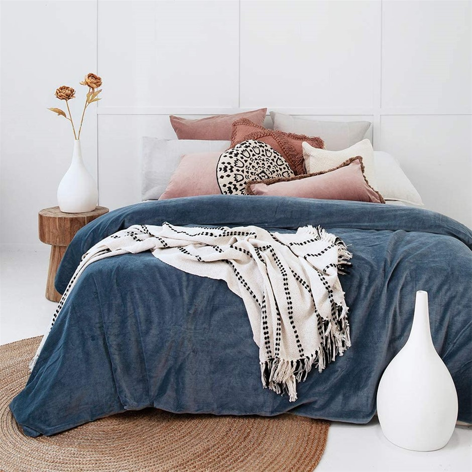 BAMBURY Emerson Quilt Cover Set, Queen. 100% Cotton Velvet. Buyers Note - D