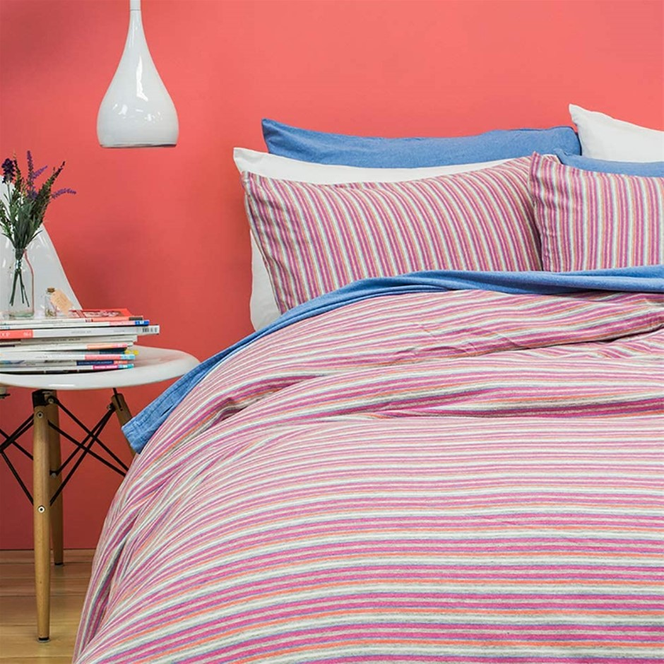 BAMBURY BedT Quilt Cover Set, King, Pink. Cotton Linen. QC: 245 x 210cm Pil