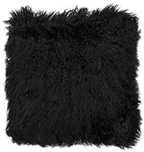 BAMBURY Mongolian Floor Cushion, Black. 40 x 40cm. 100% Mongolian Lambswool