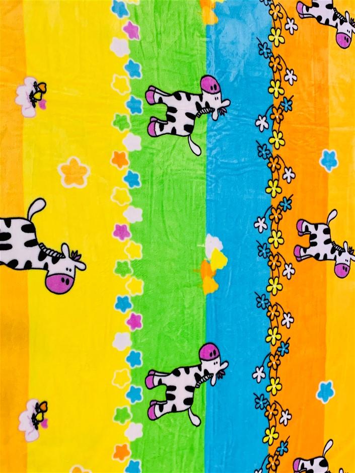 Large Plush Blanket - yellow, orange, green, blue - 200cm x 190cm