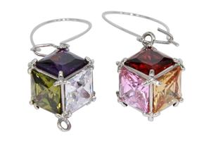 EARRINGS - multi coloured cubic zirconia